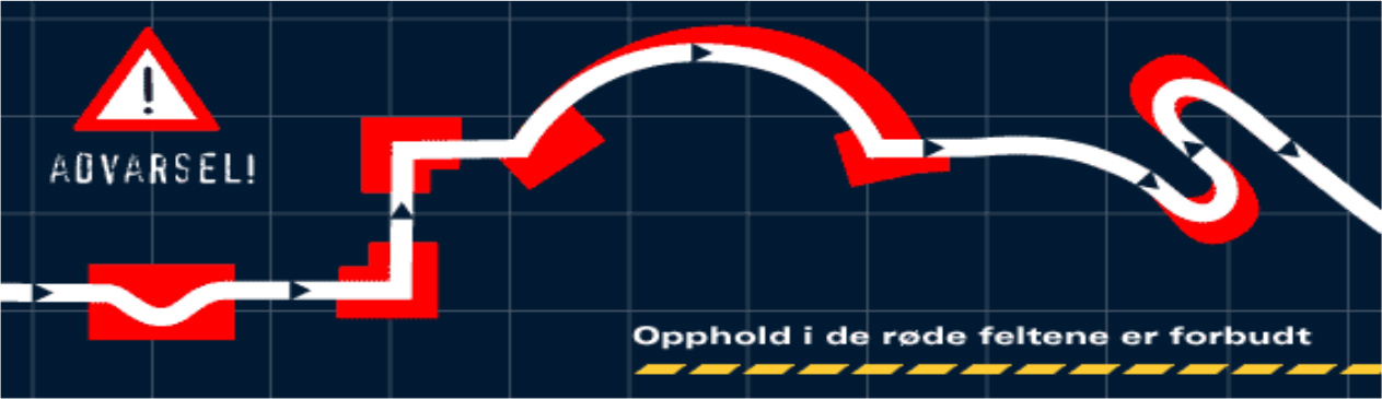 Opphold i de røde sonene er forbudt. Illustrasjon: Norges Bilsportforbund